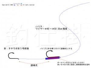 タチウオ釣りの誘導式孫針の拡大図